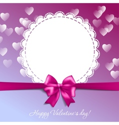 Valentines card with a bow and hearts vector image vector image