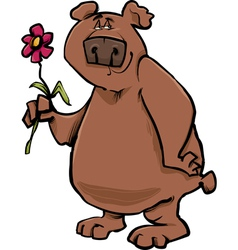 bear with flower cartoon vector image vector image