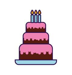 cute birthday cake cartoon vector image vector image