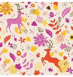 Floral background wih deer vector image