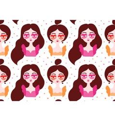 Girls wearing surrealistic lip eyeglasses seamless vector