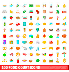 100 food court icons set cartoon style vector image vector image