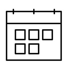 calendar line icon symbol in outline style vector image