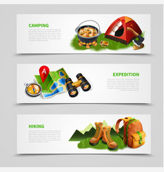 camping realistic banner set vector image vector image