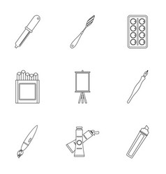 designer equipment icons set outline style vector image
