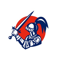 Knight brandishing a sword viewed from side vector image vector image