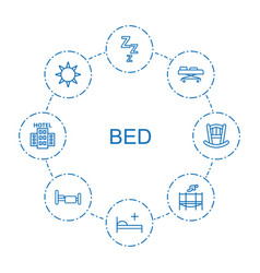 8 bed icons vector