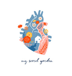 Anatomical heart modern print design art work vector