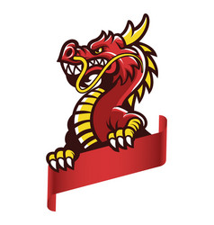 Angry asian dragon grip the blank banner vector
