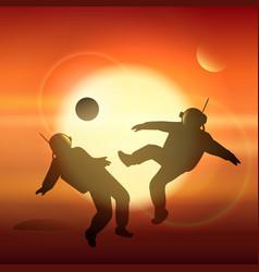 astronauts plays football on planet mars vector image