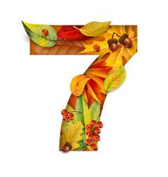 autumn stylized alphabet with foliage digit7 vector image