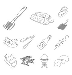 Barbecue and equipment outline icons in set vector
