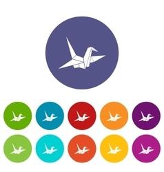Bird origami set icons vector