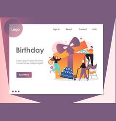 birthday website landing page design vector image