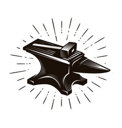 blacksmith forge anvil and hammer vector image