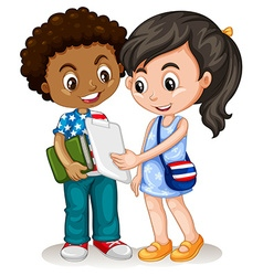 Boy and girl working together vector