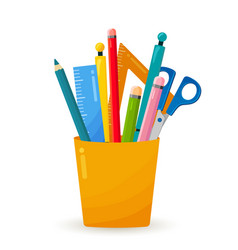 bright office and education equipment cup vector image