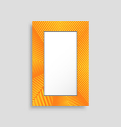 bright yellow vertical photo frame with stripes vector image