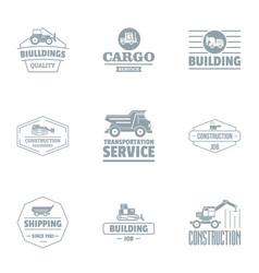 Building cargo logo set simple style vector