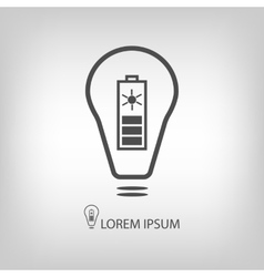 Bulb with solar battery as eco energy symbol vector image