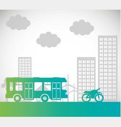 bus motorcycle transport urban background vector image