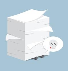 Businessman under stack paper vector