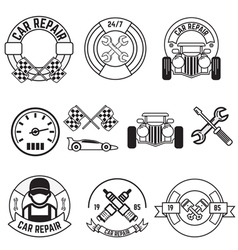 car repair line labels vector image