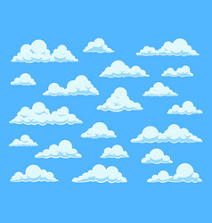 cartoon sky clouds cloudscape in blue sky vector image