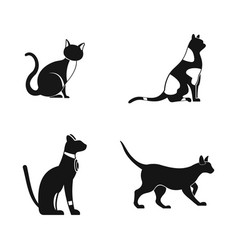 cat icon set simple style vector image