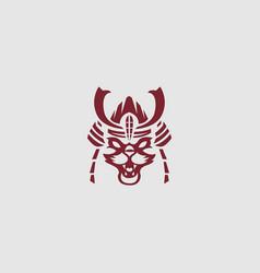 cat samurai logo vector image