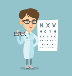 Caucasian ophthalmologist holding eyeglasses vector