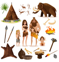 Cavemen decorative icons set vector
