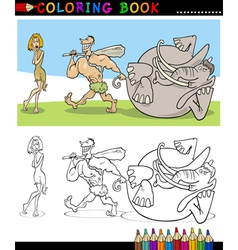 Cavemen Family Couple for coloring vector image