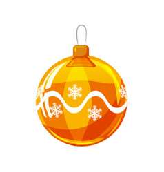 christmas ball yellow gold white colour vector image