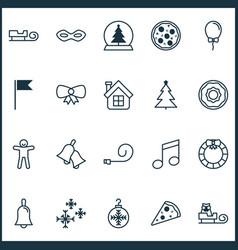 Christmas icons set with bells christmas tree vector
