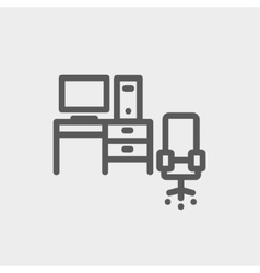 Computer set with table and chair thin line icon vector