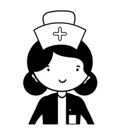 Contour professional nurse with hat in the head vector