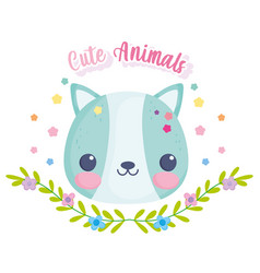 cute animals squirrel leaves flowers decoration vector image