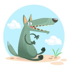 cute cartoon wolf character vector image