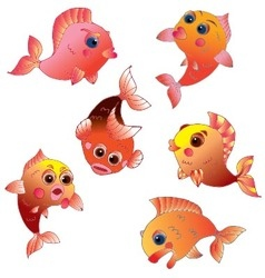 Cute golden fish on transparent background vector