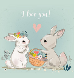 cute hares couple vector image
