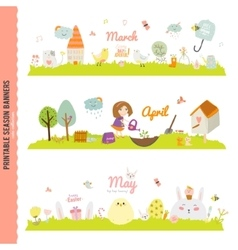 Cute Monthly Seasonally Backgrounds Banners vector