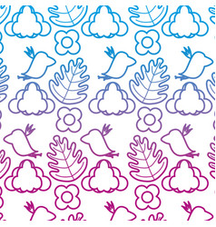 Degraded line bird with cloud and exotic plant vector