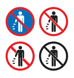 Do not litter sign set do not throw garbage icons vector