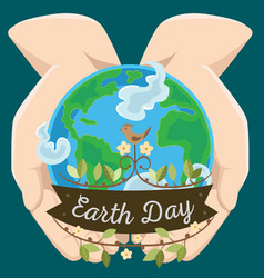 earth day happy planet surrounded by clouds in vector image