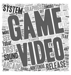 First video game system 1 text background vector
