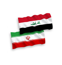 Flags iraq and iran on a white background vector