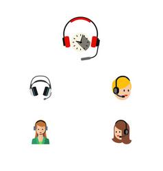 Flat call set of secretary earphone call center vector