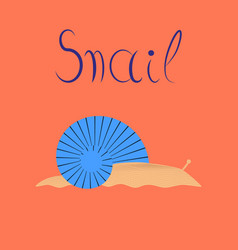 Flat on background snail vector