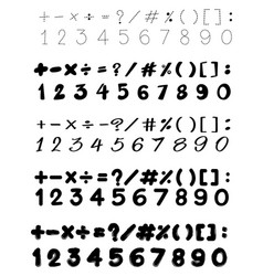font design with numbers and math signs vector image